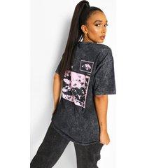 acid wash gebleekt t-shirt met opdruk, black
