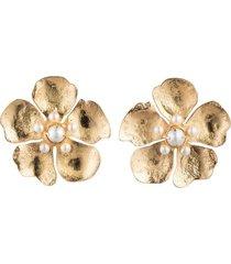 gold brass peony clip earrings with pearl, women's, josie natori