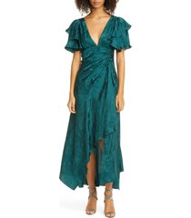 women's tanya taylor clementine ruffle sleeve silk maxi dress