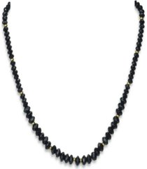 black agate (5-8mm) strand necklace in 14k yellow gold