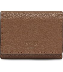fendi selleria business card holder - brown