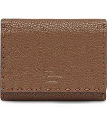 fendi selleria business card holder - brown