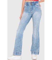 jeans wados tiro alto flare celeste - calce holgado