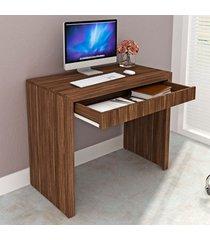 mesa escrivaninha 1 gaveta nogal me4107 - tecno mobili