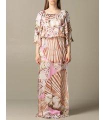 blumarine dress long blumarine dress in printed silk twill