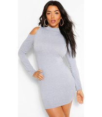 cold shoulder long sleeve bodycon mini dress, grey marl