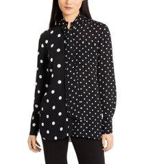 elie tahari tie-neck contrast dot-print top