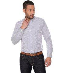 camisa azul claro/blanco preppy ml cfit raya delgada bd