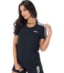 camiseta adidas essentials 3s slim - feminina - preto/branco