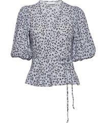 printed crepe blouses short-sleeved ganni