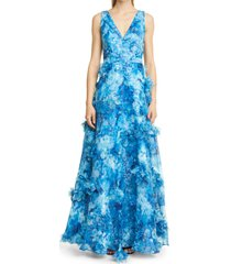 women's marchesa notte pleated tiered organza gown, size 2 - blue