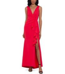 betsy & adam cascade-ruffle gown