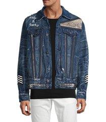 cult of individuality men's type ii skull denim jacket - blue - size s
