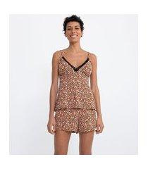 pijama short doll blusa de alcinha e short em microfibra estampa floral | lov | preto | p