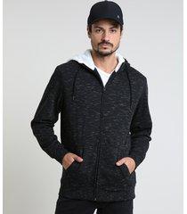 blusão masculino em moletom com recortes e pelo preto