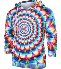 3d colorful vortex print hoodie