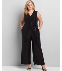 lane bryant women's sequin jumpsuit 26/28 black