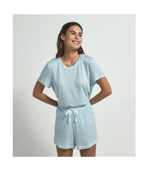 blusa de pijama manga curta lisa estampa poá   lov   azul   gg