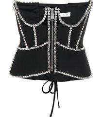 area crystal embellished corset top - black