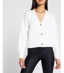 river island womens cream gold button cardigan