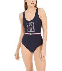 tommy hilfiger logo belted one-piece swimsuit women's swimsuit
