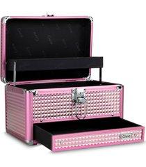 maleta de maquiagem média cisne alumínio reforçada rosa