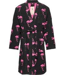 the flamingo robe morgonrock badrock svart oas