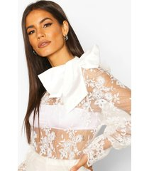 embroidered bow detail blouse, ivory