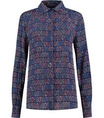 blouse logomania donkerblauw