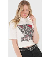 camiseta cropped john john side tiger off-white - off white - feminino - algodã£o - dafiti