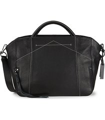 noir textured leather satchel