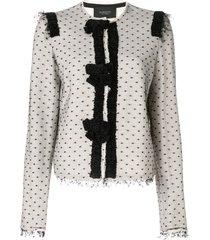 giambattista valli dotted mesh top blazer - white