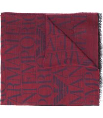 emporio armani lightweight logo knit scarf - red