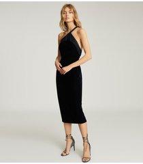 reiss karla - one shoulder velvet dress in navy, womens, size 14