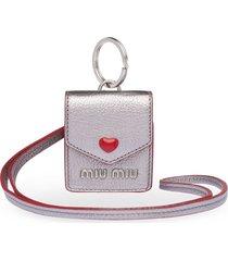 miu miu madras love earphone case - metallic
