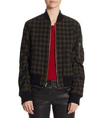andrew gingham wool bomber jacket