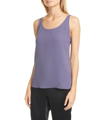 women's eileen fisher scoop neck silk tank, size medium - blue