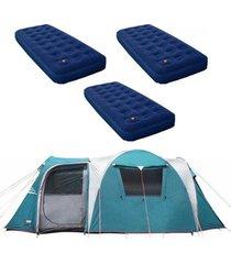 barraca camping nautika arizona gt 9/10 pessoas + 3 colchões solteiro inflável zenite