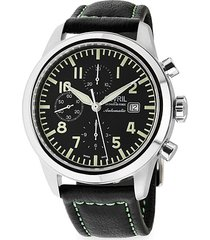 gevril men's vaughn swiss automatic stainless steel & leather strap chronograph pilot watch