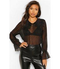 crinkle dobby mesh blouse applique collar, black