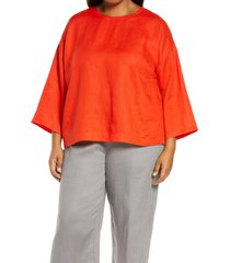 plus size women's eileen fisher organic linen boxy tunic, size 2x - red