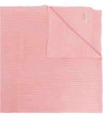 twin-set ribbed knit long scarf - pink