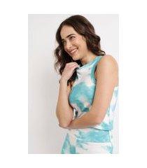regata feminina mindset cropped estampada tie dye decote redondo azul