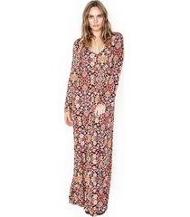 bliss l/s v-neck maxi dress - xs tapestry