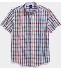 tommy hilfiger men's adaptive custom fit plaid short sleeve shirt exotic coral - s