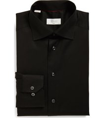 men's eton slim fit twill dress shirt, size 17.5 - black