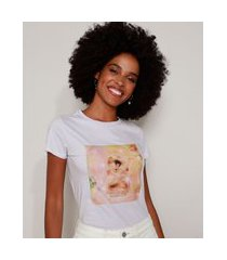 "camiseta feminina gatinho cansadita"" manga curta decote redondo lilás"""