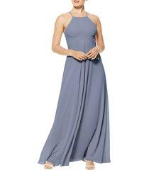 women's #levkoff halter neck chiffon a-line gown, size 18 - grey