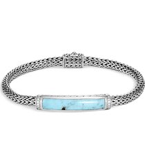 'classic chain' diamond turquoise silver woven chain bracelet