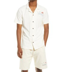 men's scotch & soda embroidered short sleeve terry cloth button-up camp shirt, size medium - white